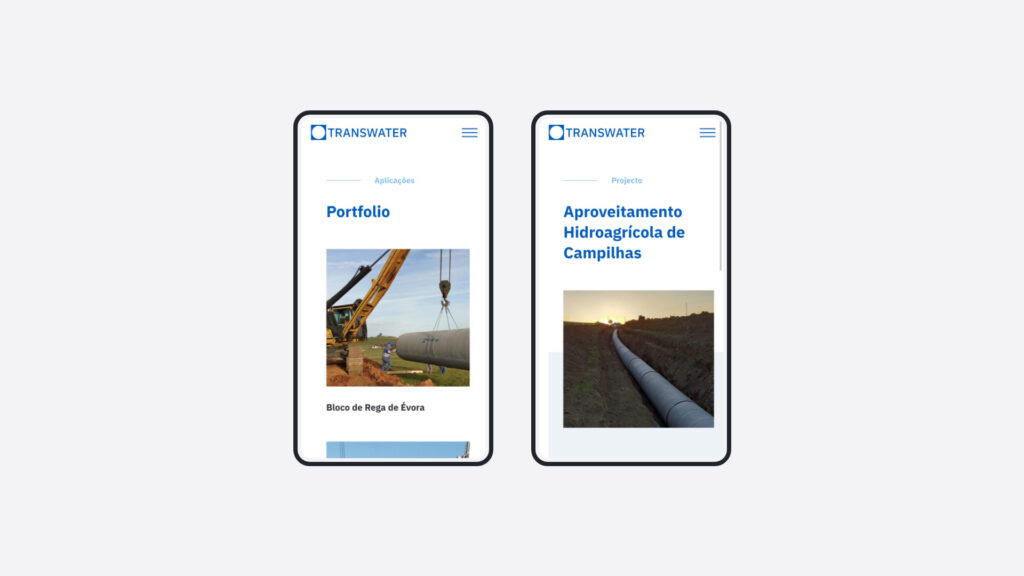 Transwater - Website mobile